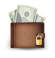 realistic classic brown wallet locked with vector image
