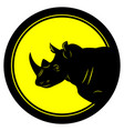 round emblem with black thick stroke with rhino vector image