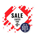 sale limited time offer up to 60 square backgroun vector image vector image