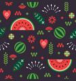 seamless pattern stylized decorative watermelon vector image