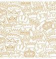 seamless pattern with crown - thin line ico vector image vector image