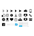 set of web icons for social networks collection vector image vector image