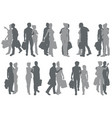shopping couple silhouettes vector image vector image