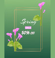spring sale poster with beautiful spring flowers vector image vector image