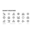 sunny weather sun icons summer vacation sunrise vector image