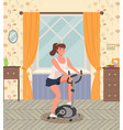 woman doing cycling exercise a girl with bike vector image vector image