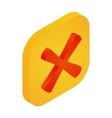 Yellow button with cross icon isometric 3d style vector image vector image
