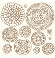 Set of floral elements in the ethnic style vector image