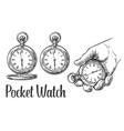 Antique pocket watch vintage engraved vector image
