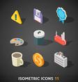 Flat Isometric Icons Set 11 vector image