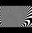 abstract op art black and white lines in hyper 3d vector image vector image