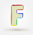 Alphabet letter F Watercolor paint design element vector image vector image