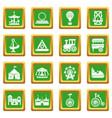 amusement park icons set green square vector image vector image