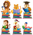 Animals and books vector image vector image