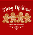 beautiful christmas card with gingerbread family vector image vector image