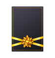 black holiday gift card with golden ribbon and bow vector image