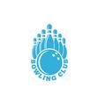 bowling club logo blue sport emblem with ball vector image