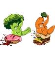 Broccoli vs donut carrots burger healthy food vector image