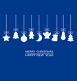 christmas ornament elements tags hanging on blue vector image