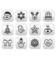 Christmas winter buttons set - Santa Claus snowm vector image