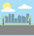 cityscape buildings tree street sky vector image