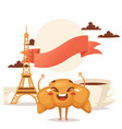 croissant and coffee traditional french breakfast vector image vector image