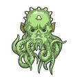 cthulhu myth creature sketch engraving vector image vector image