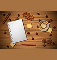 cup of coffee cinnamon biscuit on wooden tab vector image