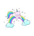 cute cat unicorn pretty pet recreation on cloud vector image