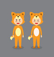 cute character wearing fox costume vector image vector image