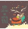 Cute girl hugging reindeer vector image