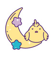 cute little chicken in half moon with stars vector image