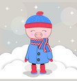 cute winter pig in a coat vector image vector image