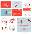 Design Elements - Vintage Christmas Birds vector image vector image
