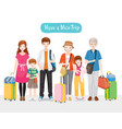 family with luggages standing for travel together vector image vector image