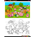 farm animals characters group coloring book vector image vector image