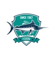 Fishing sport heraldic badge with blue marlin fish vector image vector image