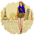 French Lady Strolling the Streets of Paris vector image vector image
