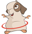 Funny brown guinea pig and a hula hoop cartoon vector image vector image