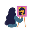 girl artist draws a self portrait woman learning vector image