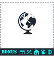 globe icon flat vector image vector image