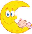 Happy cartoon moon vector image vector image