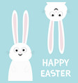 happy easter white bunny rabbit set funny head vector image vector image