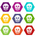 living dead icon set color hexahedron vector image vector image