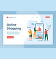 online shopping landing page buyers with shopping vector image
