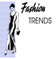poster fashion trends with a silute girl in a vector image