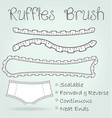ruffles or frills lace seamless brush vector image vector image