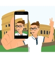 Selfie of hipster wearing in Rome vector image vector image