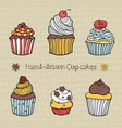 set of hand-drawn cupcakes vector image vector image