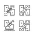 smartphone displays linear icons set vector image